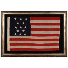 13 Star Antique American Flag with an Unusual Vertical Arrangement, 1895-1910