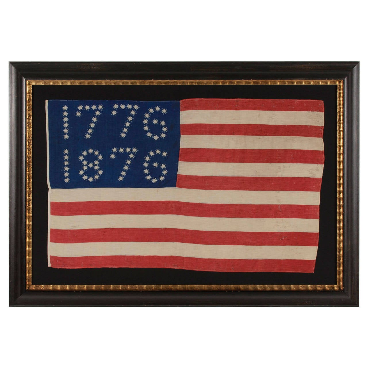 """Antiques American Flag with Ten-Pointed Stars That Spell """"1776-1876"""" 1"""