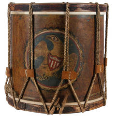 Early American Militia Drum with Dramatic Folk-Style Eagle