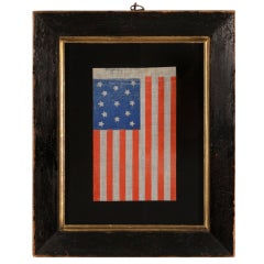 13 Star Antique American Flag, Chromatic Blue & Orange, Civil War Era