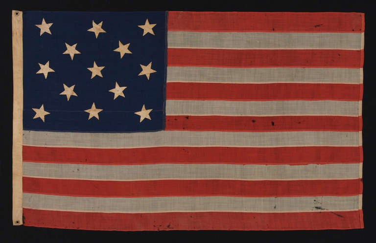 13 Star Antique American Flag U S Navy Small Boat Ensign