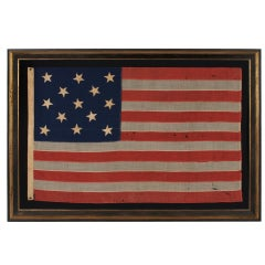 13 Star Antique American Flag, U.S. Navy Small Boat Ensign, 1876 Centennial Era: