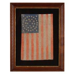38 Star Antique American Flag, Rare Medallion Variation, Colorado Statehood