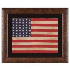 42 Star Antique American Flag, Wave Configuration, Washington Statehood, 1889-90