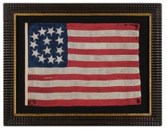 13 Star Antique American Flag with a Rare Tombstone Pattern, 1865
