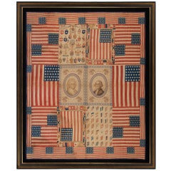 Exceptional Antique Patriotic 1876 Quilt w/ Images of George & Martha Washington
