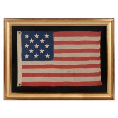 13 Antique American Flag, Hand-Sewn Stars, Small Scale, 1876 Centennial Era
