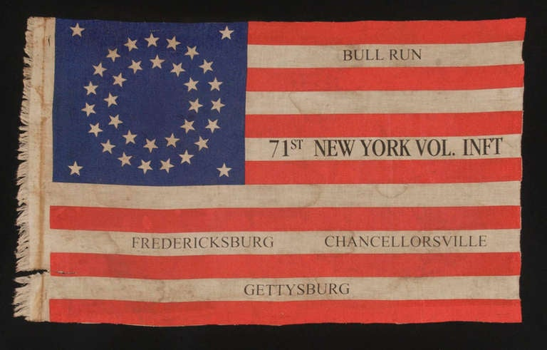 35 Star Antique American Flag, New York 71st Vol. Infantry Reunion, Civil War 2