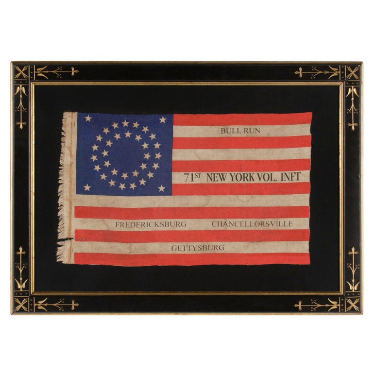 35 Star Antique American Flag, New York 71st Vol. Infantry Reunion, Civil War 1