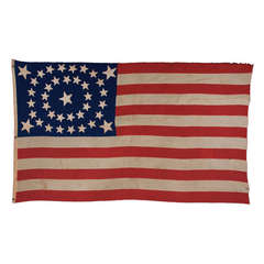 38 Star Flag, In Rare Oval Medallion with a Large Center Star