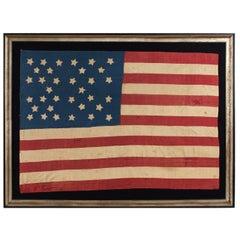 Homemade 34 Star Flag, Cornflower Blue, Interesting Configuration, 1861-1863