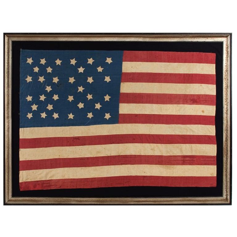 Homemade 34 Star Flag, Cornflower Blue, Interesting Configuration, 1861-1863 For Sale