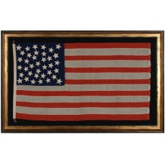 37 Stars In A Medallion Configuration On An Antique American Flag