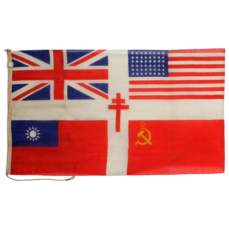 Stunning WWII Allied Forces Flag With The Cross Of Lorraine at 1stdibs