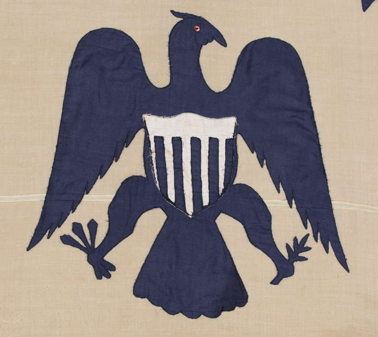 Antique Revenue Cutter Service Flag w/ a Blue Eagle and 17 Stripes, 1880-1895 In Excellent Condition For Sale In York County, PA