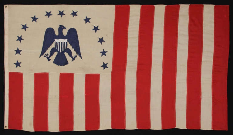 Wool Antique Revenue Cutter Service Flag w/ a Blue Eagle and 17 Stripes, 1880-1895 For Sale