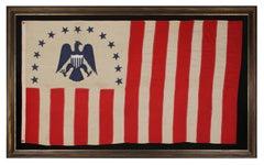 Antique Revenue Cutter Service Flag w/ a Blue Eagle and 17 Stripes, 1880-1895