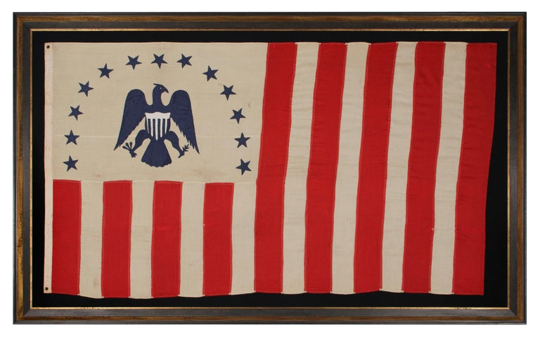 Antique Revenue Cutter Service Flag w/ a Blue Eagle and 17 Stripes, 1880-1895 For Sale