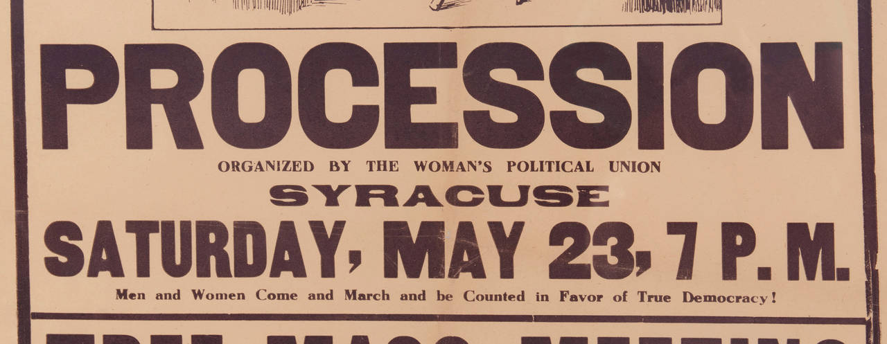 Rare Suffragette Broadside Advertising A 1914 March In