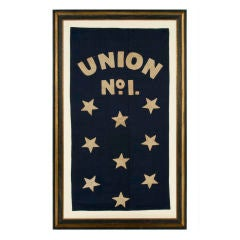 FIREHOUSE BANNER WITH HAND-SEWN, APPLIQUÉD STARS