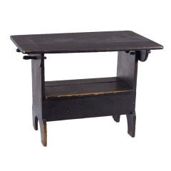 PENNSYLVANIA HUTCH TABLE IN BLACK PAINT WITH OUTSTANDING SURFACE