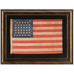 """38 Stars In An Extremely Rare """"Beehive"""" Configuration Antique Flag Flag"""