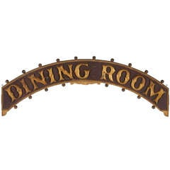Painted And Gilded Dining Room Sign From A Steamboat On The Fall River Line