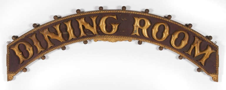 Painted And Gilded Dining Room Sign From A Steamboat On