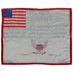 Homemade Textile With Embroidery Featuring The Pledge Of Allegiance