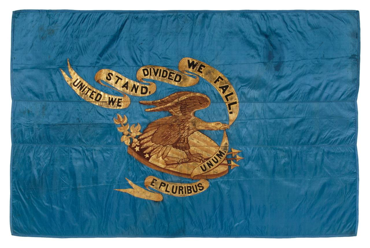 Wartime Kitchen And Garden Civil War Regimental Flag With A Dramatic Wartime Eagle At 1stdibs