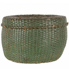 Lidded and Lined Splint Basket in Green Paint, Late 19th Century