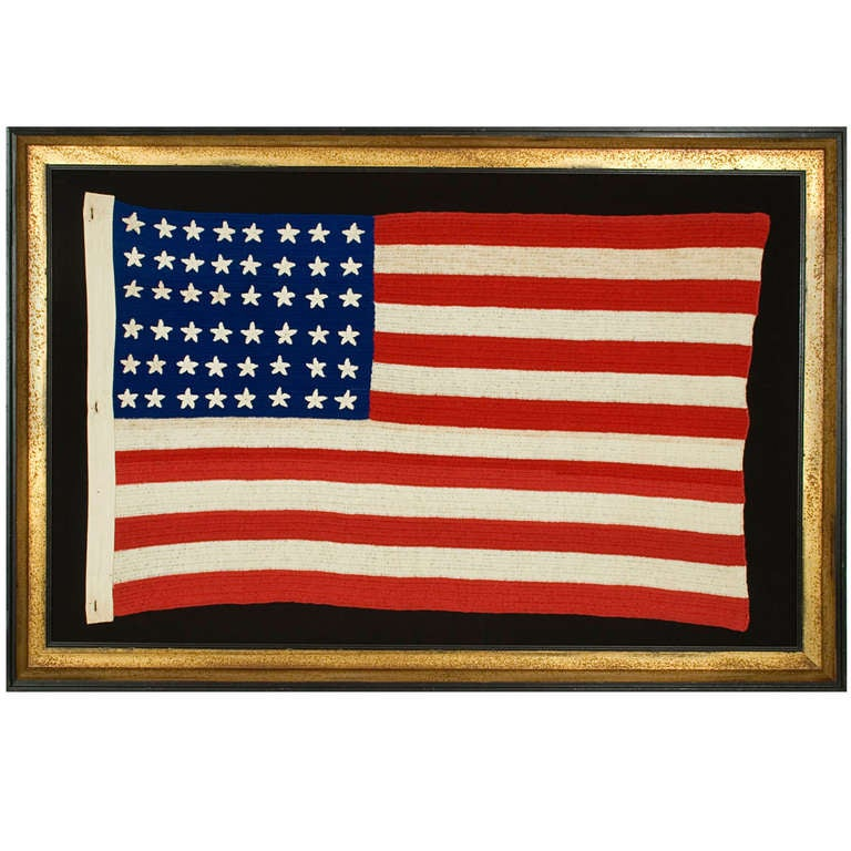 48 Star Flag Crocheted Wwi Wwii Era At 1stdibs