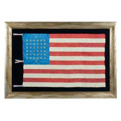 38 Star, Silk Flag With Embroidered Stars & 12 Stripes