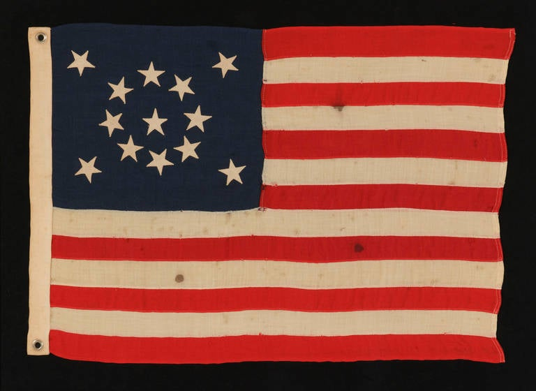 Thirteen Star Small Scale Antique American Flag Arranged