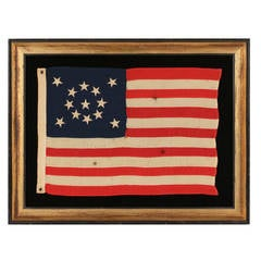 Thirteen Star Small-Scale Antique American Flag Arranged in a Medallion Pattern