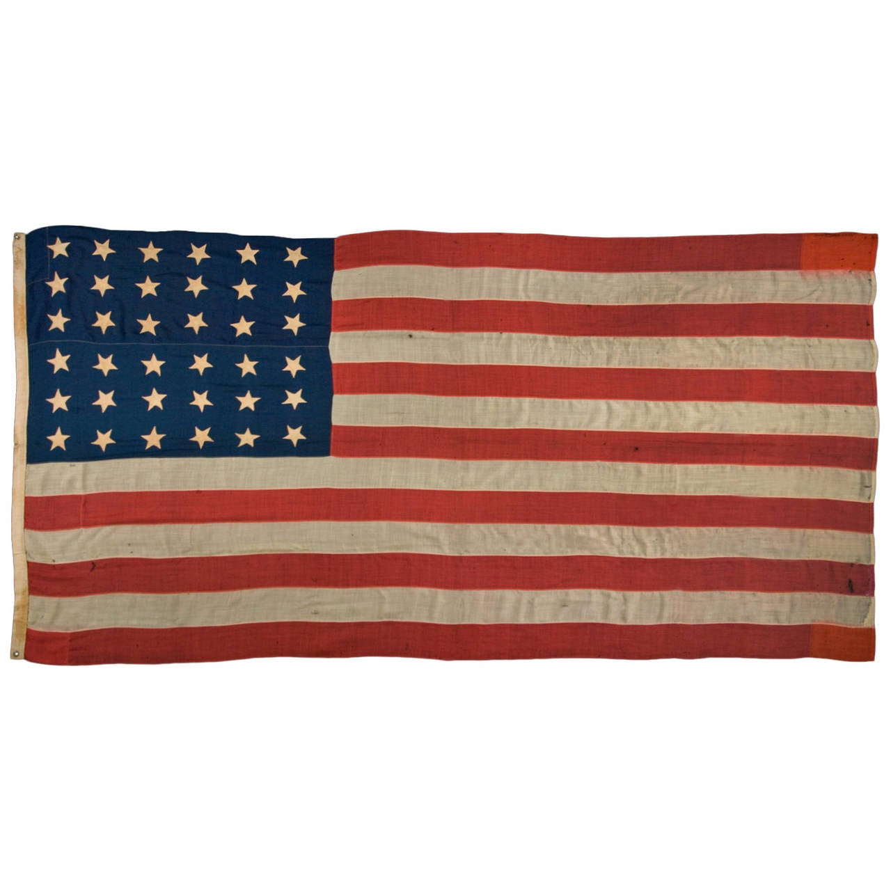 "36 Star Single-Appliqued Flag, Signed ""Christy"" 1"