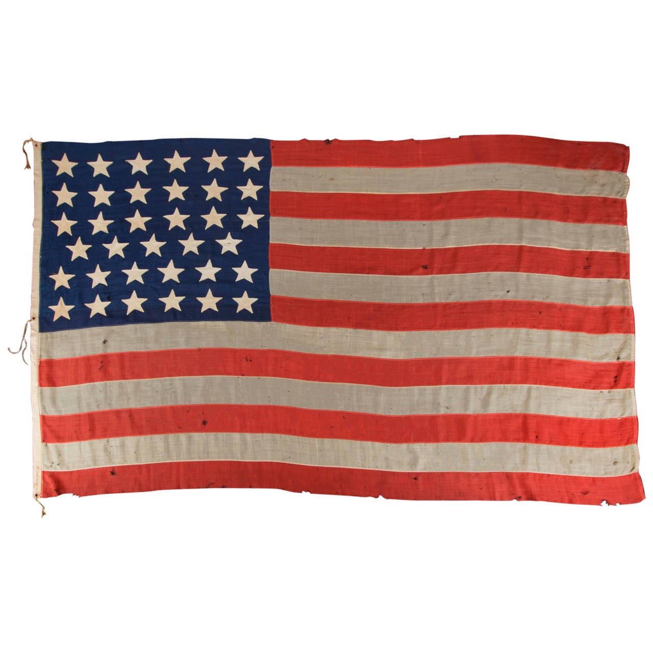 35 Star, Single Appliqued American Flag Signed by a Surgeon, Dr. LP Putnam