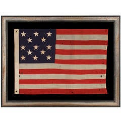 13 Star, Antique American Flag with Stars Arranged in a 3-2-3-2-3 Pattern