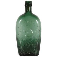 """Liberty"" Eagle Flask in Bright Blue Green Willington Glass"