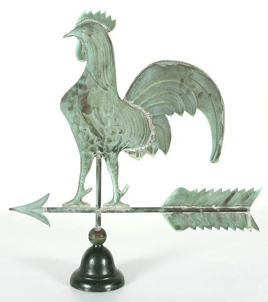 Antique Rooster Weathervane: Rooster Weathervane With Excellent Verdigris Surface At