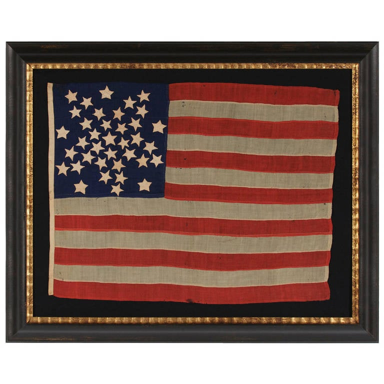 """37 Star Flag in a Whimsical Representation of the """"Great Star"""" Pattern For Sale"""