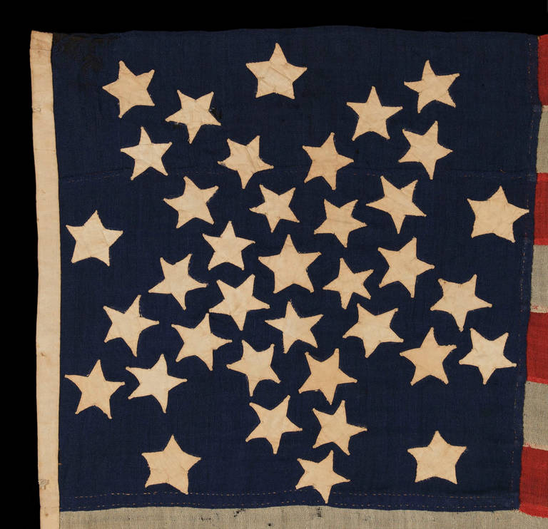 American 37 Star Flag in a Whimsical Representation of the