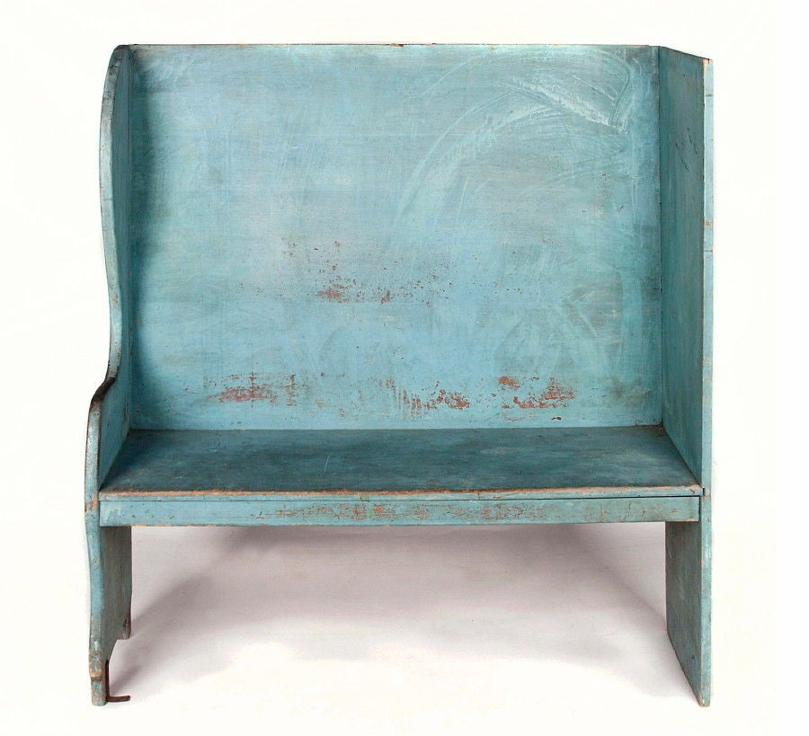 PAIR OF ROBIN'S EGG BLUE-PAINTED BENCHES FROM A PORTICO ON AN 1890'S HOME IN CANAAN, NEW YORK:  Rare pair of matching high-back settle benches, made circa 1890, found on the front porch portico of a home of the same period in Canaan, New York,