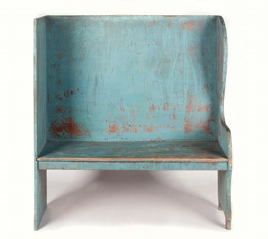 American Pair of Robin's Egg Blue-Painted Benches For Sale