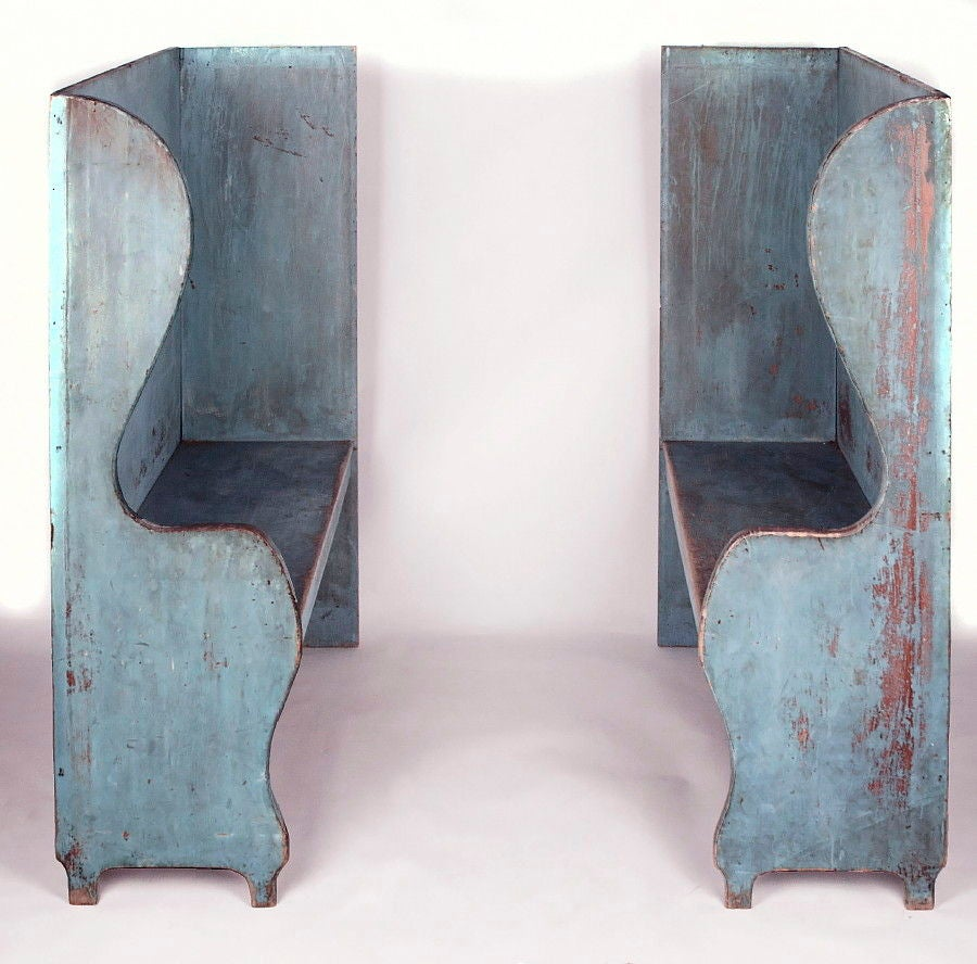 Pair of Robin's Egg Blue-Painted Benches In Good Condition For Sale In York County, PA
