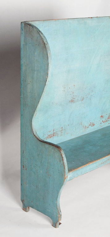 19th Century Pair of Robin's Egg Blue-Painted Benches For Sale