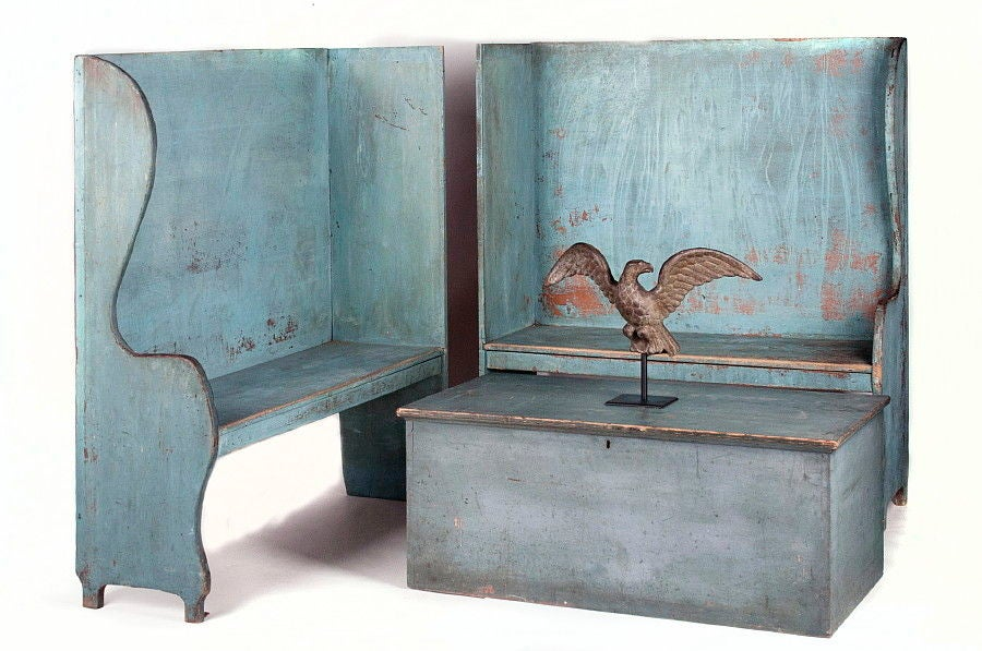 Pair of Robin's Egg Blue-Painted Benches For Sale 1