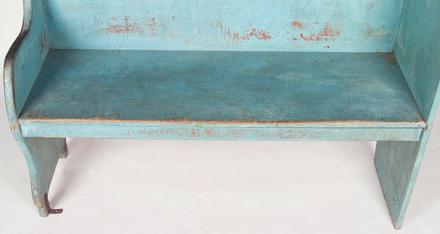 Pair of Robin's Egg Blue-Painted Benches For Sale 2