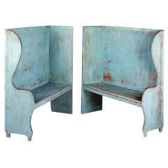 Pair of Robin's Egg Blue-Painted Benches