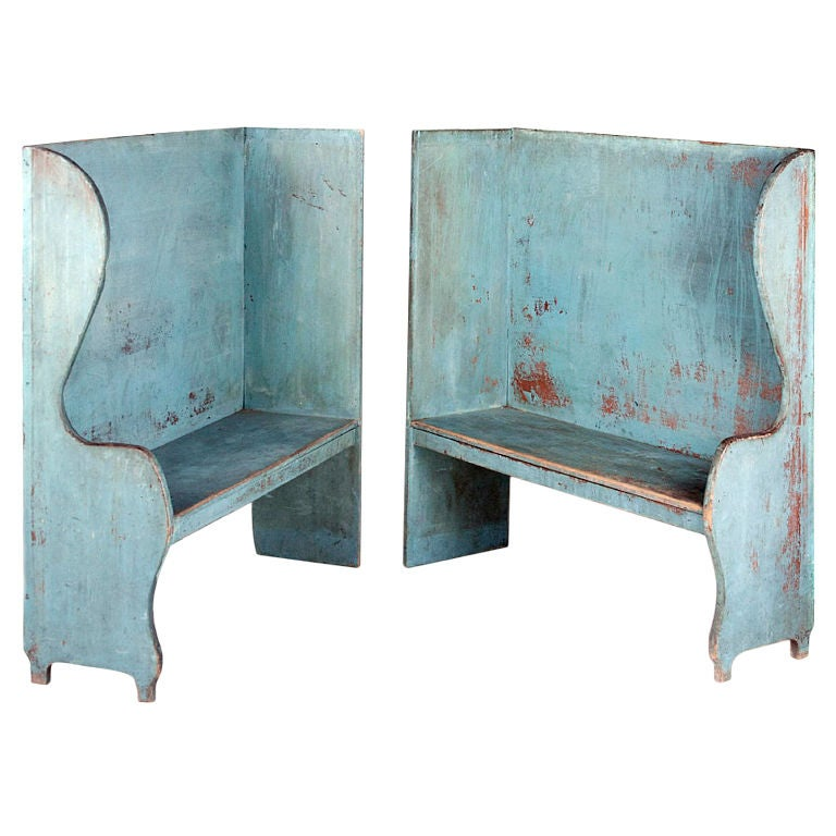 Pair of Robin's Egg Blue-Painted Benches For Sale